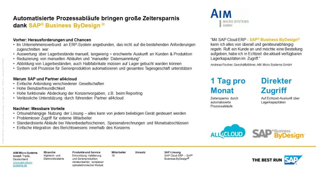 SAP Business ByDesign Customer Reference Zertifikat all4cloud Kunde