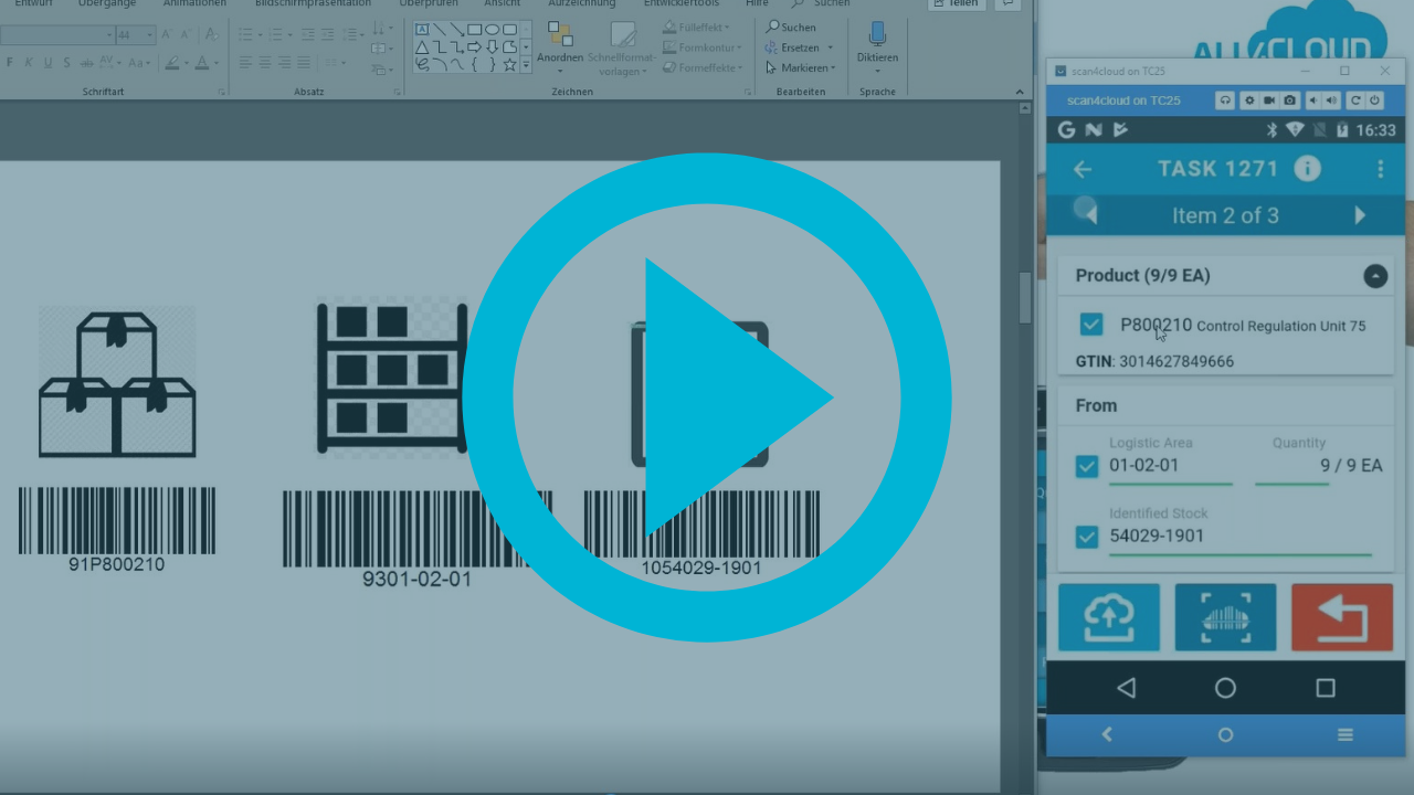 SAP Business ByDesign all4cloud scan4cloud warehouse Lager system App Barcode scan
