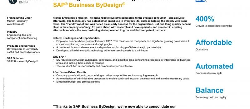 SAP Cloud ERP SAP Business ByDesign all4cloud Franka Emika Robot Technology